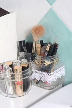 Clear jars #makeupstorage