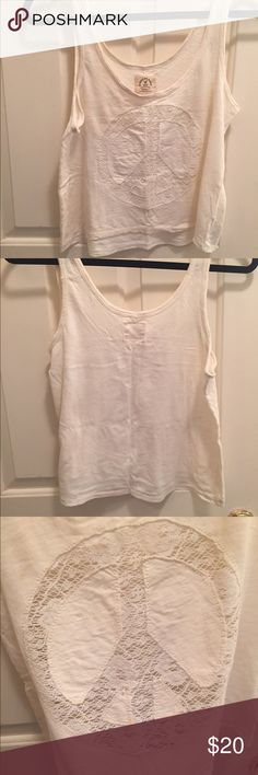 American Eagle peace crop top Ivory crop top with sheer peace sign. Worn once- in great condition! American Eagle Outfitters Tops Crop Tops