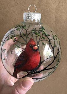 Cardinal Ornament Hand Painted Glass Grief Gift Sentimental Personalized Custom Bird Tree Branches Angel Spiritual Grieving Mourning Loss Have you ever heard the saying, Cardinals appear when angels are near ? I started painting cardinals a few years ago Cardinal Ornaments, Painted Christmas Ornaments, Hand Painted Ornaments, Christmas Balls, Christmas Art, Christmas Projects, Handmade Christmas, Christmas Wreaths, Christmas Decorations