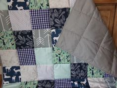 Woodland Deer Patchwork Toddler Quilt in navy, gray and mint by La Rue de Fleurs.