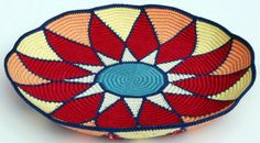 Tapestry Crochet Sunburst Basket created with Caron Simply Soft yarn. No pattern, but indeed worthy of pinning to share.