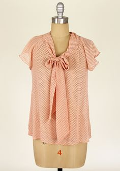 Smitten Kitten Tie Blouse in Peach