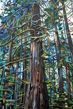 This print is a reproduction of a painting from my Nature's Cathedral series. This painting was based on an old growth Cedar tree found during a nature walk in Tofino, BC. The branches have strong dimensionality with a golden accent which is complimented by the ultramarine blues in the background. This piece shows a style that is influenced by Emily Carr's forest paintings.