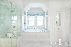 white marble, relaxed roman shade | Markay Johnson Construction