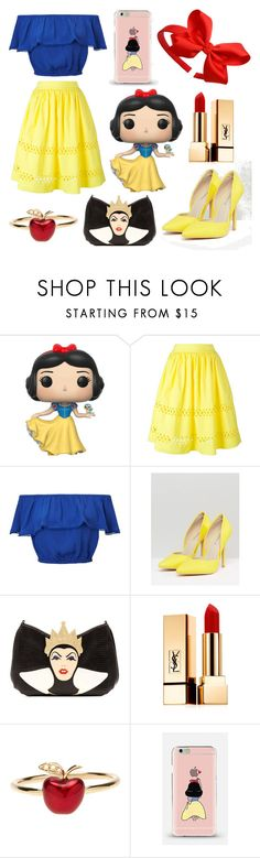 """Modern Snow White!"" by lucia-correa ❤ liked on Polyvore featuring Disney, Alice + Olivia, Miss Selfridge, Glamorous, Danielle Nicole, Yves Saint Laurent, Alison Lou and modern"