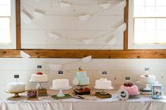 """To cut on costs, we decided to go with many 10"""" round cakes instead of one large cake. Each cake was a different flavor that the guests were able to pick from. Everyone is still talking about our cakes!"""