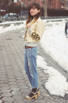 Emilee Anne wearing Vintage Band Jacket // Isabel Marant x HM Sweatshirt // Gap Boyfriend Jeans // Swedish Hasbeens Savannah Clogs Clogs Outfit, Hasbeens Clogs, Winter Outfits, Cool Outfits, Band Jacket, Lady Stockings, Custom Socks, Band Camp, Clogs