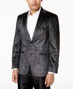 abe246119 Tallia Men's Slim-Fit Black Snakeskin-Print Velvet Dinner Jacket & Reviews  - Blazers & Sport Coats - Men - Macy's