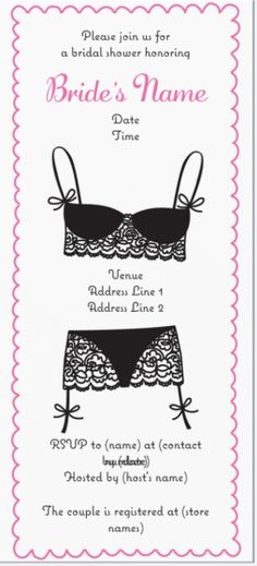 "Why You'll Love Black Lingerie Bridal Shower Vertical Flat Invitations - 4""x8"""