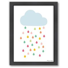 Americanflat Rainy Cloud Framed Wall Art () (€100) ❤ liked on Polyvore featuring home, home decor, wall art, vertical wall art and framed wall art