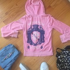 👑 Pink Juicy Couture Hoodie 👑 Brand new condition, adorable pink colored velour jacket with beautiful detailing on back. Size large, fits small. Juicy Couture Jackets & Coats
