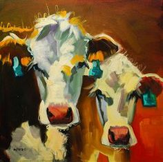 Cow Art - Sibling Cows by Diane Whitehead  want a picture like this, black angus with our brand tag in the ear