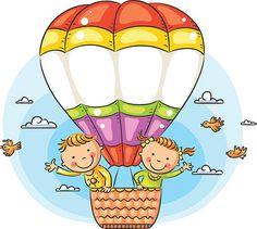 Criança feliz mulher viajando pelo ar - ilustração de arte vetorial