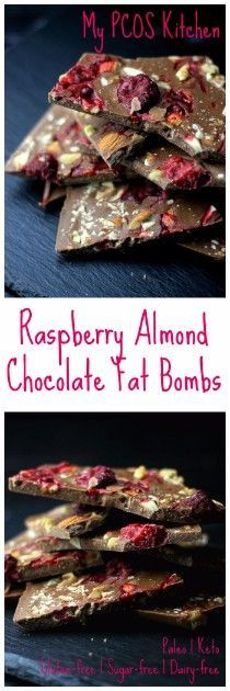 My PCOS Kitchen - Paleo Keto Raspberry Chocolate Fat Bombs - Delicious dairy-free, gluten-free and sugar-free chocolate bars! via @mypcoskitchen