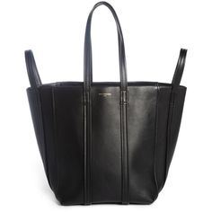 Women's Balenciaga Small Laundry Cabas Calfskin Tote (€1.915) ❤ liked on Polyvore featuring bags, handbags, tote bags, noir, shopping tote bags, balenciaga tote bag, shopping tote, balenciaga and calfskin leather handbags