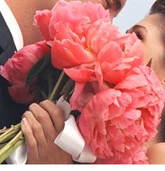 Pink coral peony wedding bouquets