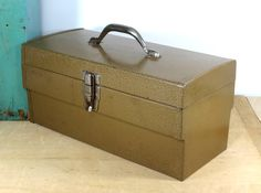 Vintage Metal Tool Box . Mid Century Circa 1950s . Sturdy Toolbox With Tray . Hammered Gold Finish by 13thStreetEmporium on Etsy