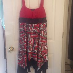 Red / Black Strappy Dress Red Spaghetti Strapped Patterned Dress My Michelle Dresses Asymmetrical