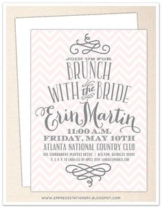 Chevron and Swirl Bridal Brunch Invitation - 5 x 7 - White Envelope - Bridal Shower, Bridal Tea, Wedding Shower, Bridal Party Bridal Luncheon Invitations, Wedding Invitation, Bridal Shower Party, Wedding Showers, Bridesmaid Luncheon, Brunch Wedding, Friend Wedding, Wedding Stationery, Jeremy Northam