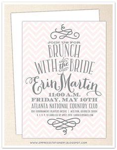Chevron and Swirl Bridal Brunch Invitation - 5 x 7 - White Envelope - Bridal Shower, Bridal Tea, Wedding Shower, Bridal Party