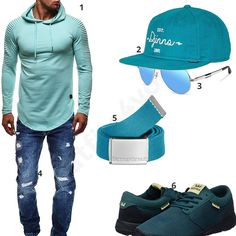 Türkises Herren-Outfit mit coolem Longsleeve (m0451) #outfit #style #fashion #menswear #mensfashion #inspiration #shirt #cloth #clothing #männermode #herrenmode #shirt #mode #styling #sneaker #menstyle