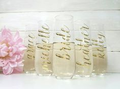 The ORIGINAL Personalized Bridesmaid Stemless Champagne Flutes / Bridesmaid Gift / Goil Foil Stemless Champagne Flute / Bridesmaid Proposal