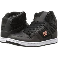 DC Rebound High SE (Black/Black) Women's Skate Shoes ($48) ❤ liked on Polyvore featuring shoes, black, hi tops, hi top skate shoes, black high tops, leather shoes and black high top shoes