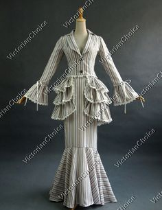 Edwardian Victorian Classic Garden Tea Party Striped Form Fitting Gown Period Dress Reenactment Theatre Clothing