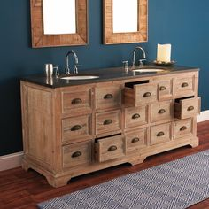 Granite Top Apothecary Double Sink Vanity - Shades of Light - $2700