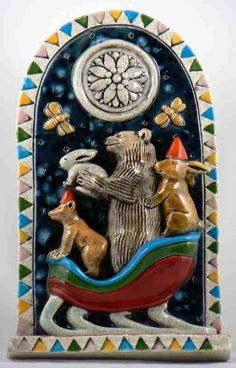ceramic relief:    Winter Sleigh Ride by tilebyfire on Etsy, $175.00