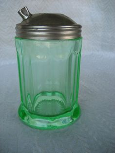 Rare Green Depression Glass Sugar Dispenser with Metal Lid