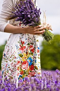 lavander and floral dress.  Lovely!