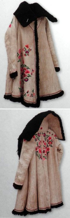 Winter coat of a Russian peasant woman. Fur sheepskin; embroidery. 19th century.: