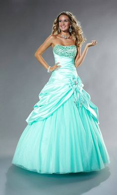 Sequin Bodice Bow Feature Tulle Floor Slight Sweetheart Strapless Blue Prom Dress