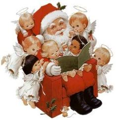 by Ruth Morehead - Santa & Friends Father Christmas, Christmas Pictures, Christmas Angels, Christmas Holidays, Christmas Crafts, Merry Christmas, Christmas Clipart, Vintage Christmas Cards, Vintage Holiday