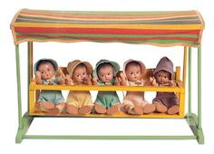 """8"""" composition baby dolls representing Canadian celebrities the Dionne Quintuplets, United States, 1935, by Madame Alexander Doll Company."""