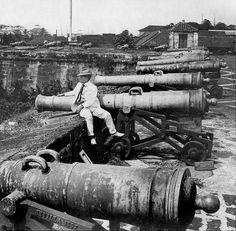 Spanish Cannons, Fort Santiago, Intramuros, Manila, Philippines 1902 by John T Pilot, via Flickr