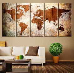 Canvas Art Print - World Map on Grunge Background - Large Wall Art Wood World Map Art, Extra Large World Map