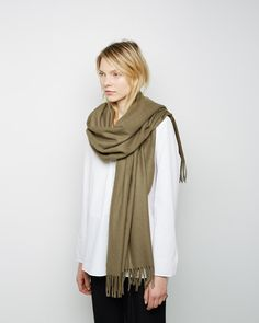 Acne Canada Scarf in a moss green color