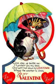 Vintage 1920's Valentines Cat In The Rain by poshtottydesignz