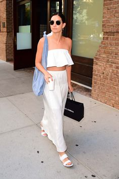 WHO: Lily Aldridge  WHAT: Reformation, Ray-Ban sunglasses, The Row bag, Tabitha Simmons shoes  WHERE: On the street, New York City  WHEN: July 27, 2016