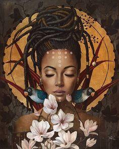 Art Surrealista - Fushion News Black Love Art, Black Girl Art, Art Girl, Black Art Painting, Black Artwork, Hippie Painting, Woman Painting, African American Art, African Art
