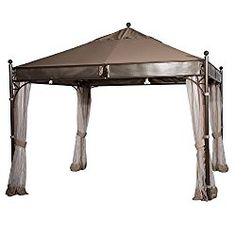 Abba Patio 11.5 x 11.5 ft Outdoor Art Steel Frame Garden House Party Canopy Patio Gazebo with Insect Screen, Brown