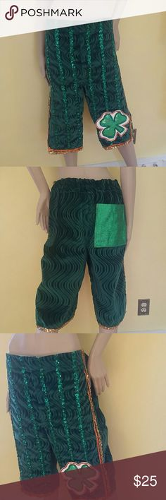 "Vintage St. Patrick's Day Mummers Costume Pants Vintage St. Patrick's Day Mummers Costume Pants Waist: 38"" Total Length: 26"" Original Costume Pants from The Philadelphia Mummers. Vintage Pants"