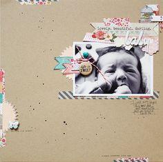 (Lilith Eeckels) Nice little areas of embellishment. Tape, ink splatter, kraft. #12x12