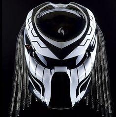 Custom Alien Predator Motorcycle Dot Approved Helmet-Black And White by…