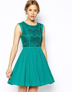 Oasis Lace Bodice Skater Dress - green cocktail dress