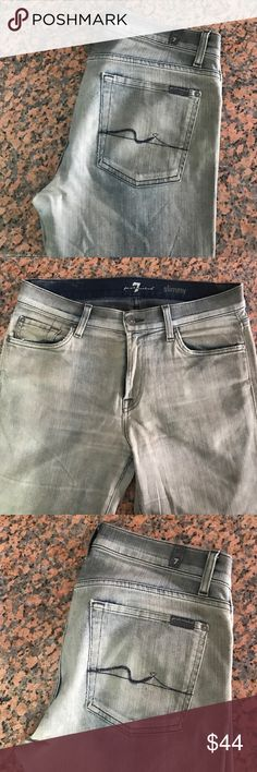 """Bueatiful 7 for all mankind """"slimy"""" jeans size W31 Great pair like new no rips or stains it's like an acid wash not %100 sure but great color 7 For All Mankind Jeans Slim Straight"""