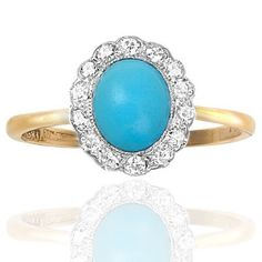 Suberb... Art Deco Turquoise and Diamond ring