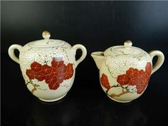 H2921: Japanese Old Kiyomizu-ware Flower pattern TEAPOT TEA CADDY Chaire 2pcs  	Age: 	1900-1940